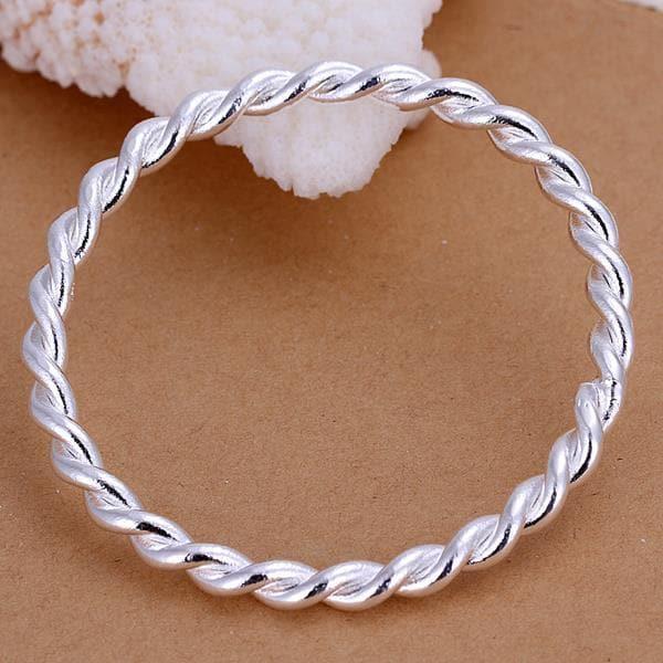 Vienna Jewelry Sterling Silver Intertwined Modern Bangle