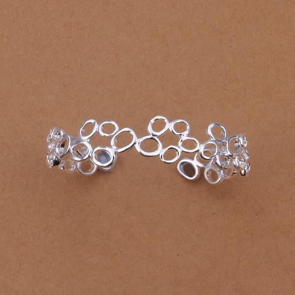 Sterling Silver Multi Hollow Circular Open Bangle