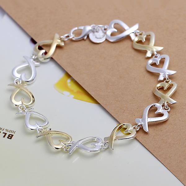 Vienna Jewelry Sterling Silver Multi Infinite Heart Bracelet