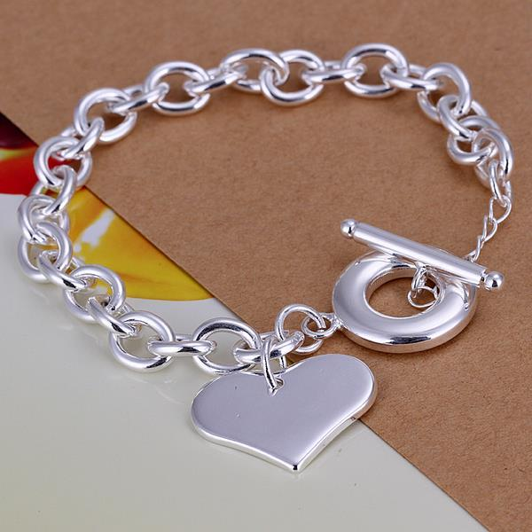 Vienna Jewelry Sterling Silver Petite Heart Shaped Clasp Closure Bracelet