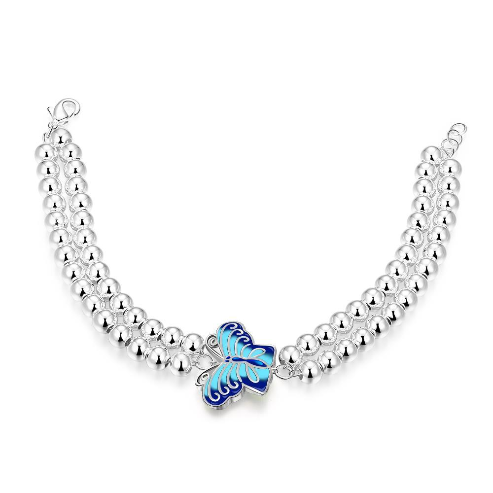 Vienna Jewelry Sterling Silver Pearl Bracelet with Petite Sapphire Butterfly Emblem Bracelet