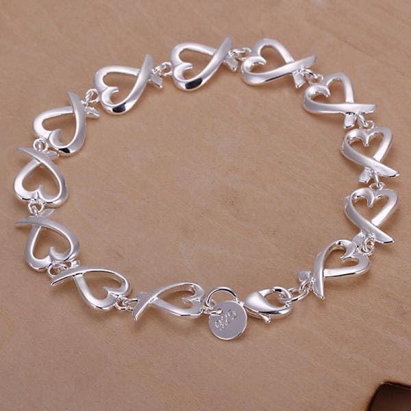 Vienna Jewelry Sterling Silver Curved Heart Bracelet
