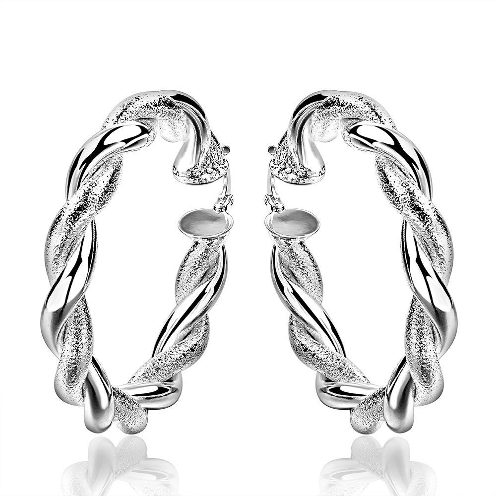 Vienna Jewelry Sterling Silver Ancient Ingrain Hoop Earring