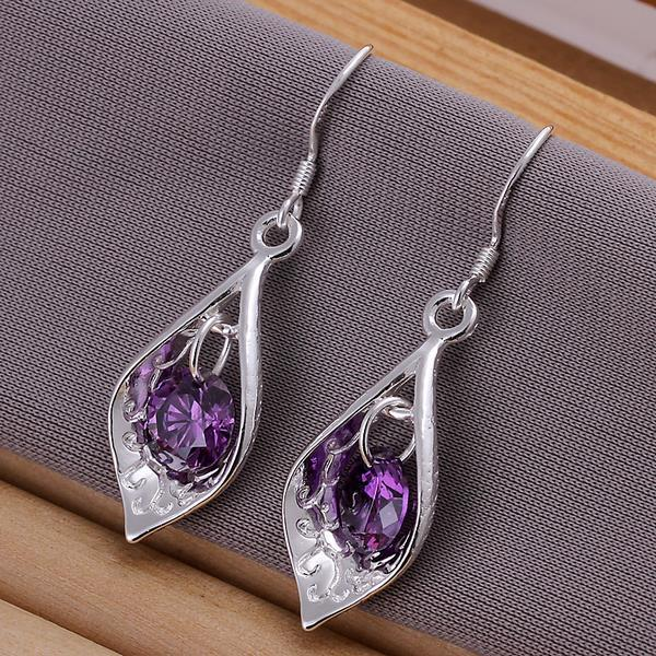 Vienna Jewelry Sterling Silver Purple Citrine Triangular Drop Earring