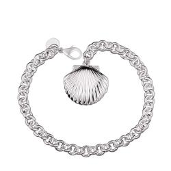 Vienna Jewelry Sterling Silver Petite Sea Shell Emblem Bracelet - Thumbnail 0
