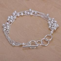 Vienna Jewelry Sterling Silver Multi Pearl Orchid Clasp Closure Bracelet - Thumbnail 0