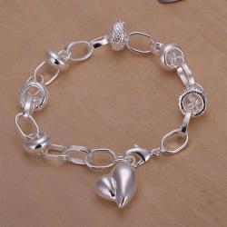 Vienna Jewelry Sivler Tone Petite Curved Emblem Bracelet - Thumbnail 0