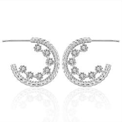 Vienna Jewelry Sterling Silver Cinderella Inspired Crystal Hoops - Thumbnail 0