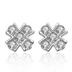 Vienna Jewelry Sterling Silver X Marks The Spot Covered with Stones Earring - Thumbnail 0