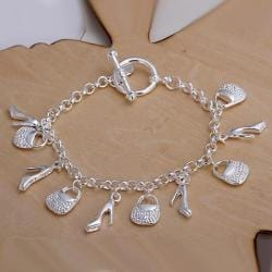Vienna Jewelry Sterling Silver Multi-Charms Classic Bracelet - Thumbnail 0