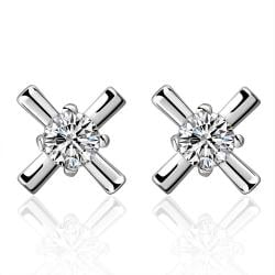 Vienna Jewelry Sterling Silver Crystal X Marks The Spot Earring - Thumbnail 0
