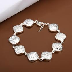 Vienna Jewelry Sterling Silver Rhombus Shaped Connected Bracelet - Thumbnail 0