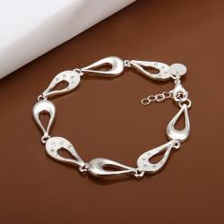 Vienna Jewelry Sterling Silver Hollow Tear Drop Connected Bracelet - Thumbnail 0