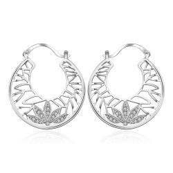 Vienna Jewelry Sterling Silver Crystal Abstract Design Hoop Earring - Thumbnail 0