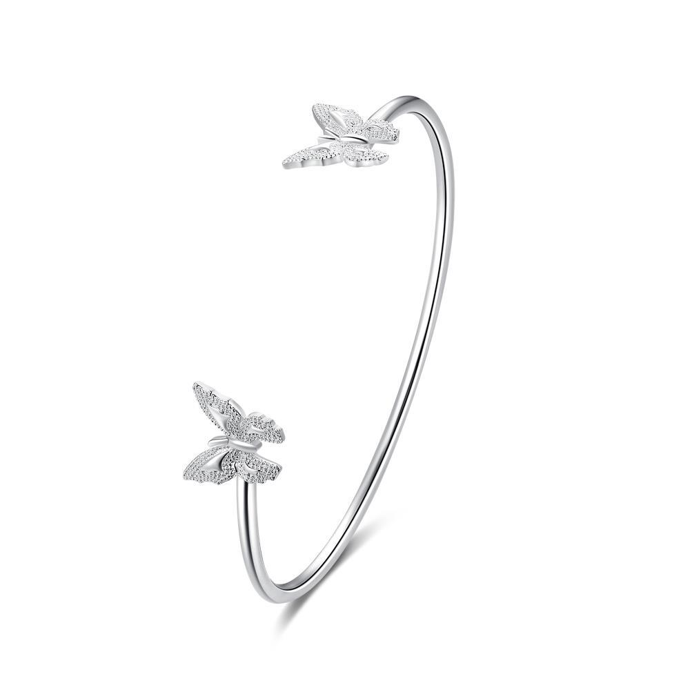 Sterling Silver Duo Petite Buttefly Open Bangle