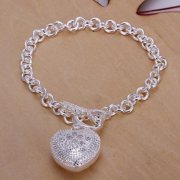 Vienna Jewelry Sterling Silver Laser Cut Heart Emblem Drop Bracelet