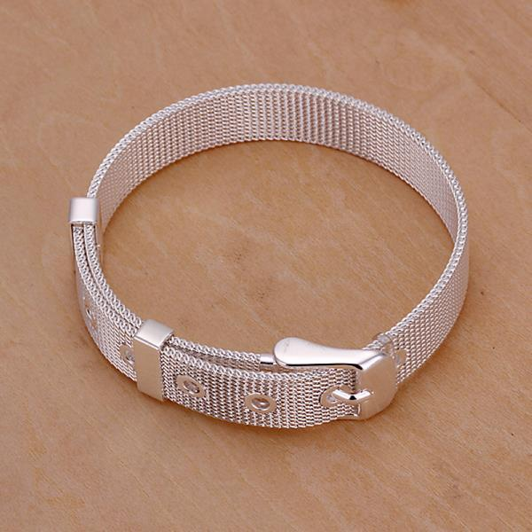 Vienna Jewelry Sterling Silver Modern Belt Buckle Bracelet