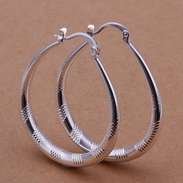 Vienna Jewelry Sterling Silver Line Cutting Hoop Earring