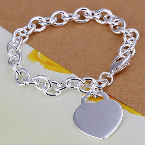 Vienna Jewelry Sterling Silver Multi Linked Petite Heart Emblem Bracelet