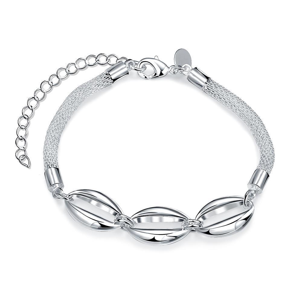 Vienna Jewelry Sterling Silver Trio-Oval Emblem Bracelet