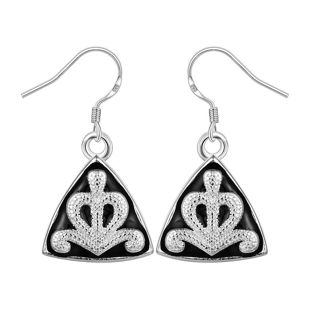 Vienna Jewelry Sterling Silver Pyramid Abstract Design Drop Earring