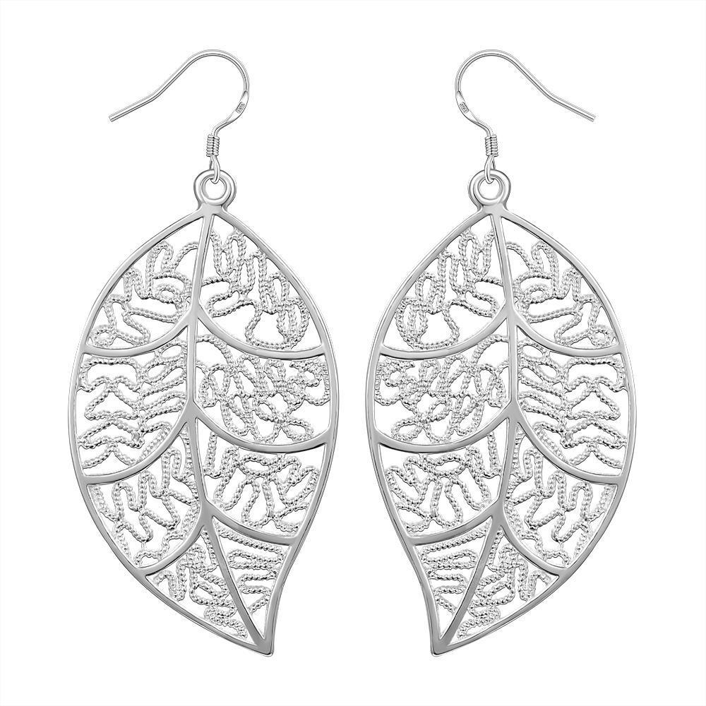 Vienna Jewelry Sterling Silver Laser Cut Filigree Leaf Earring