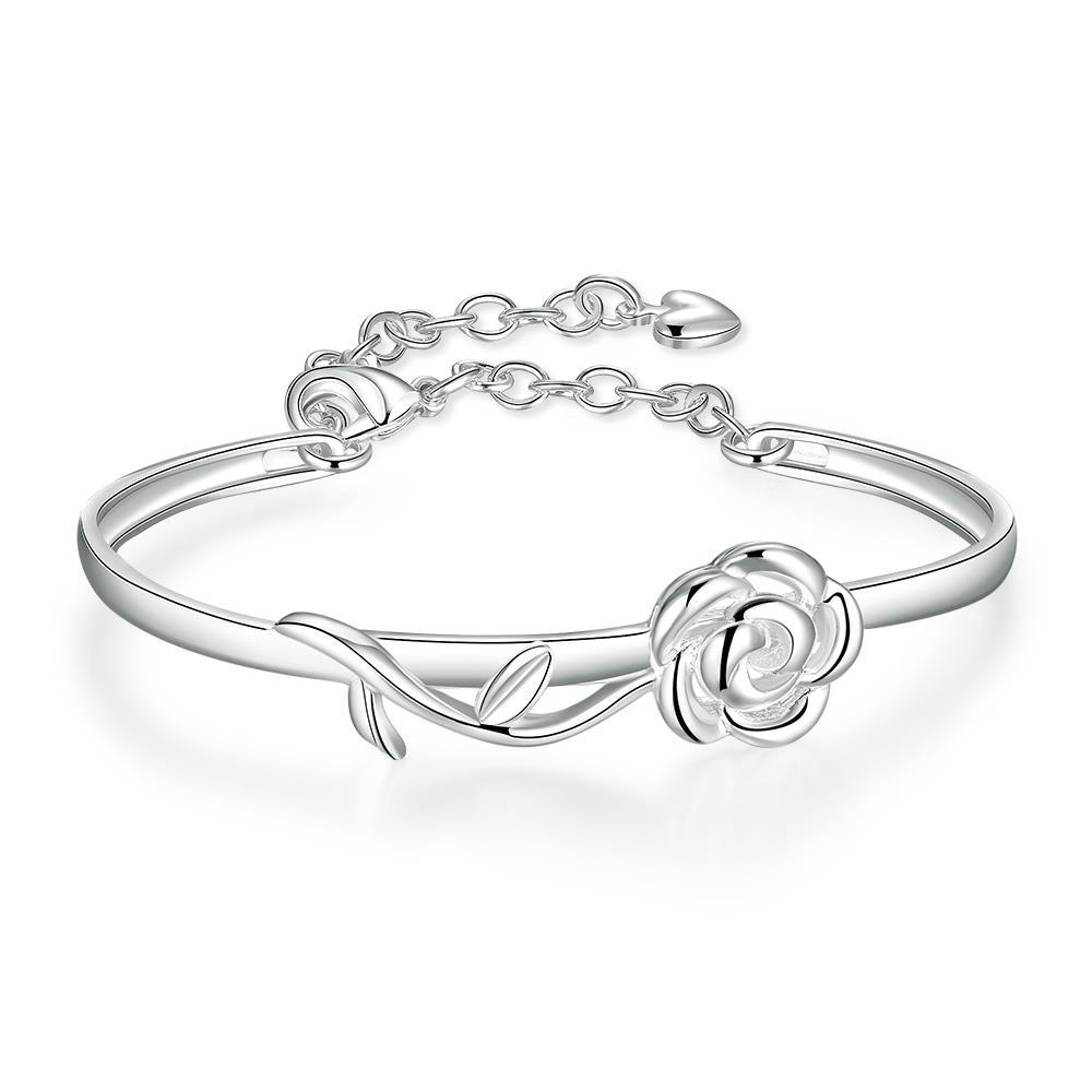 Vienna Jewelry Sterling Silver Curved Rose Petal Bangle