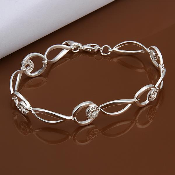 Vienna Jewelry Sterling Silver Connected Emblem Bracelet