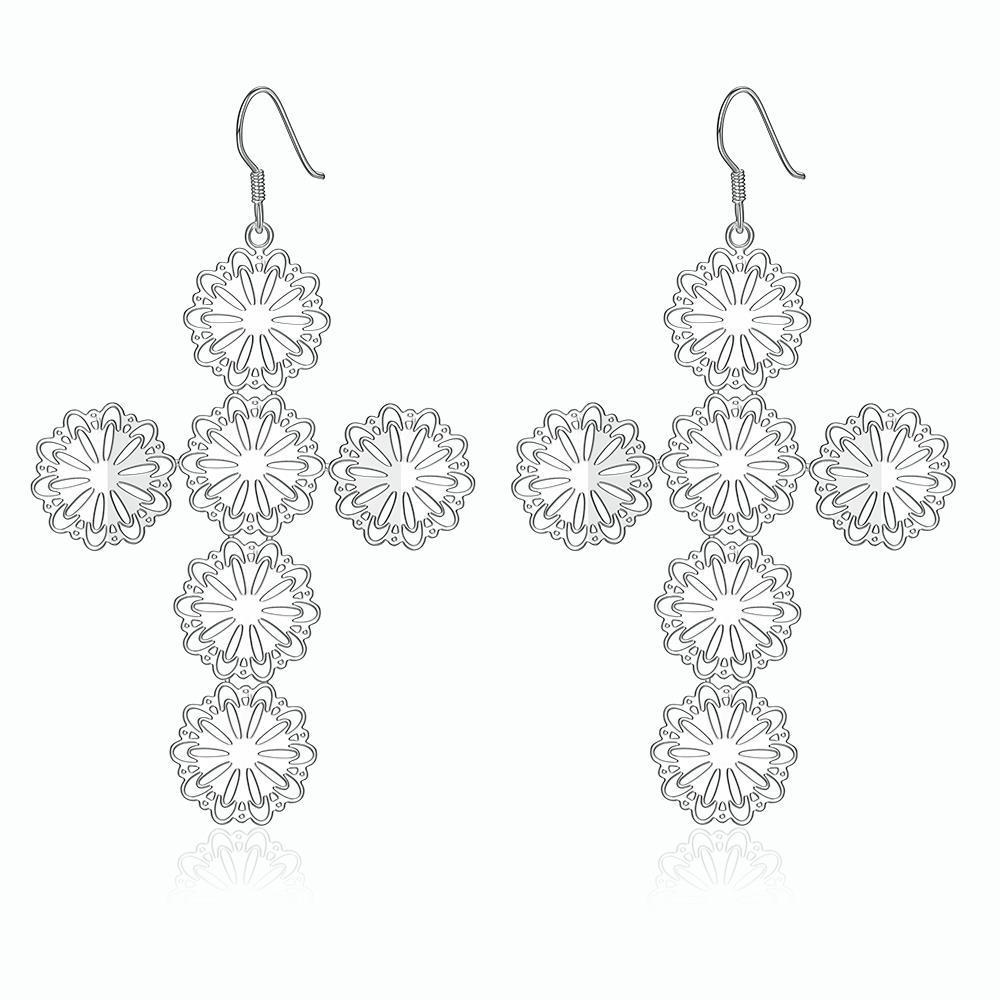 Vienna Jewelry Sterling Silver Circular Design Cross Drop Earring