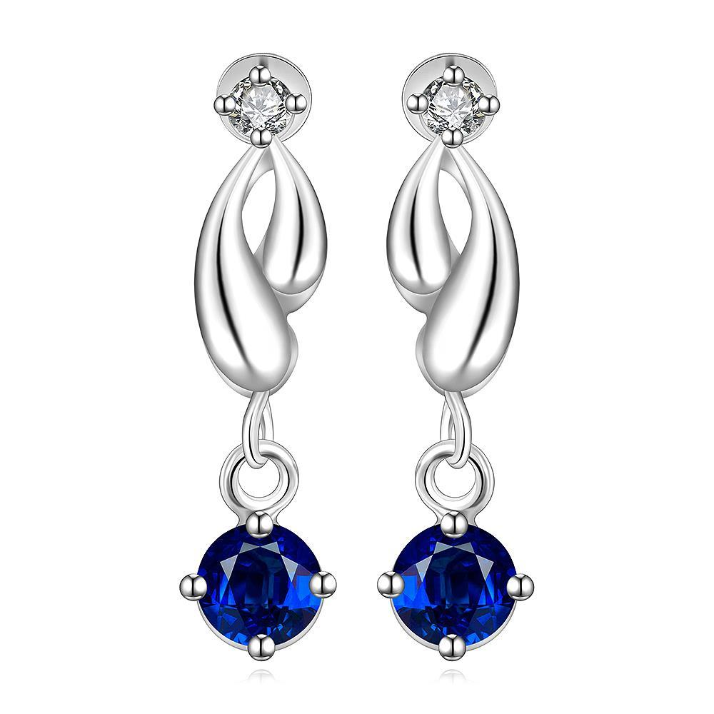 Vienna Jewelry Sterling Silver Abstract Curved Sapphire Drop Earring
