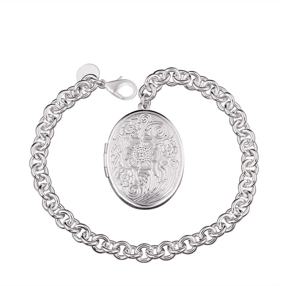 Vienna Jewelry Sterling Silver Petite Circular Emblem Bracelet
