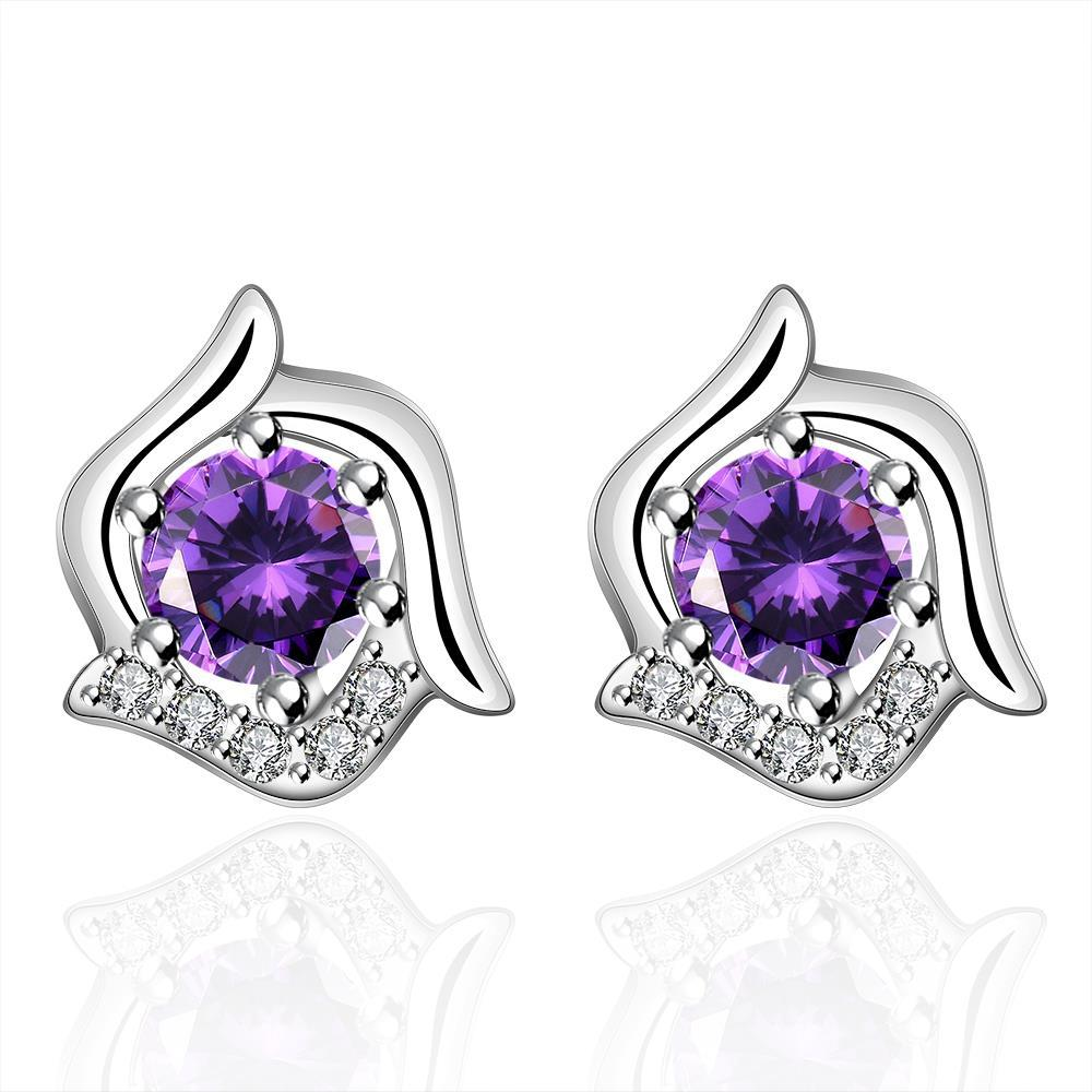 Vienna Jewelry Sterling Silver Curved Floral Purple Citrine Stud Earring