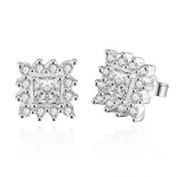 Vienna Jewelry Sterling Silver Crystal Stones Blossoming Stud Earring - Thumbnail 0