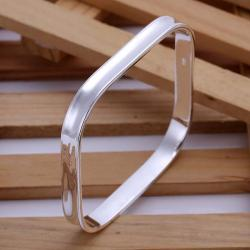 Sterling Silver Classic Square Shaped Bangle - Thumbnail 0