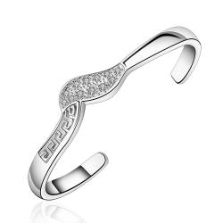 Sterling Silver Curved Emblem Open Bangle - Thumbnail 0