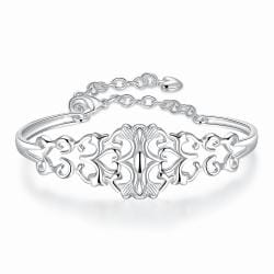 Sterling Silver Laser Cut Multi-Clover Bangle - Thumbnail 0