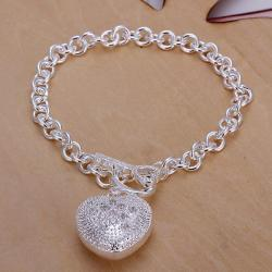Vienna Jewelry Sterling Silver Laser Cut Heart Emblem Drop Bracelet - Thumbnail 0