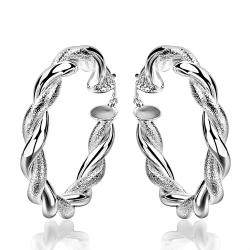 Vienna Jewelry Sterling Silver Ancient Ingrain Hoop Earring - Thumbnail 0