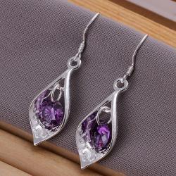 Vienna Jewelry Sterling Silver Purple Citrine Triangular Drop Earring - Thumbnail 0