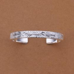 Sterling Silver Roman Inspired Ingrain Open Bangle - Thumbnail 0