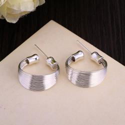 Vienna Jewelry Sterling Silver Wire Layering Hoop Earring - Thumbnail 0