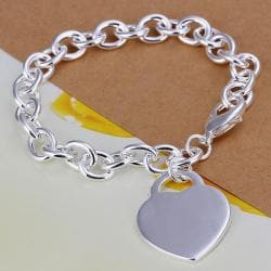 Vienna Jewelry Sterling Silver Multi Linked Petite Heart Emblem Bracelet - Thumbnail 0