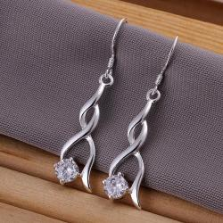 Vienna Jewelry Sterling Silver Modern Spiral Drop Earring - Thumbnail 0