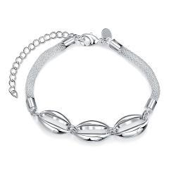 Vienna Jewelry Sterling Silver Trio-Oval Emblem Bracelet - Thumbnail 0