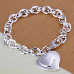 Vienna Jewelry Sterling Silver Duo-Heart Shaped Clasp Bracelet - Thumbnail 0