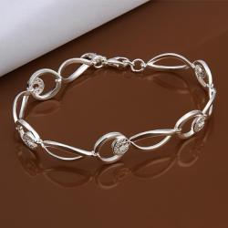 Vienna Jewelry Sterling Silver Connected Emblem Bracelet - Thumbnail 0