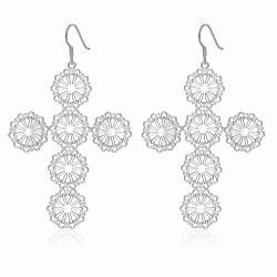 Vienna Jewelry Sterling Silver Circular Design Cross Drop Earring - Thumbnail 0