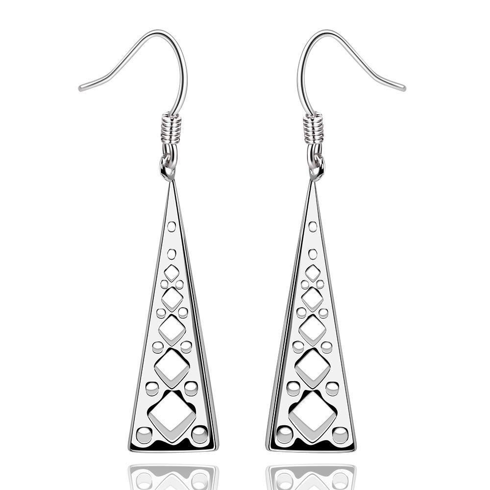 Vienna Jewelry Sterling Silver Laser Cut Vertical Pyramid Drop Earring