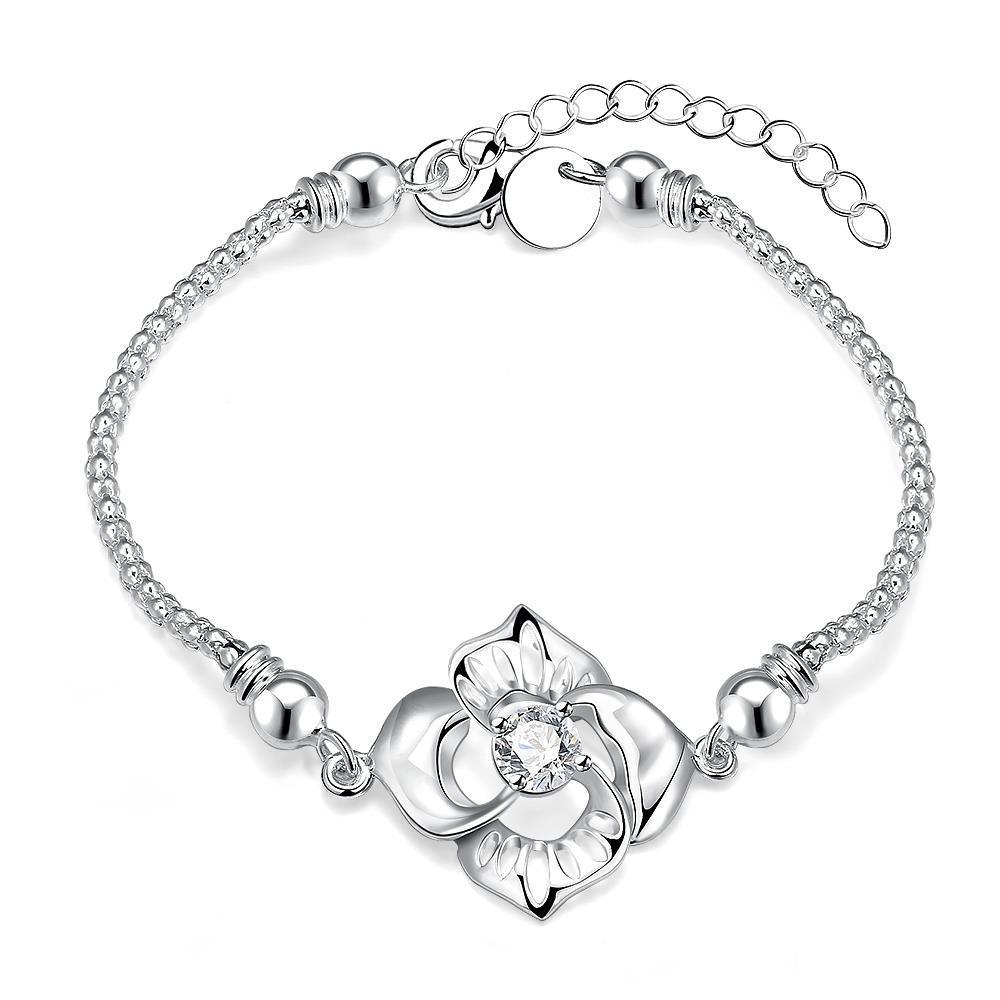 Vienna Jewelry Sterling Silver Large Laser Cut Floral Bracelet