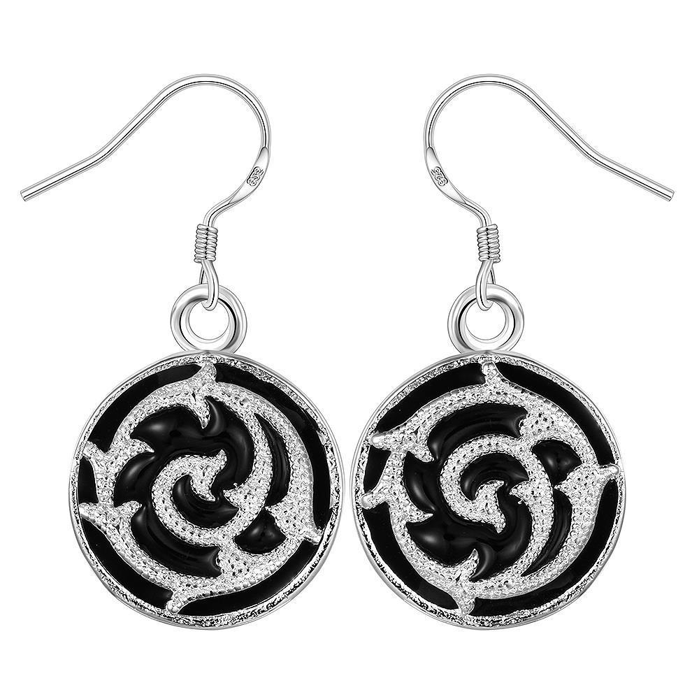 Vienna Jewelry Sterling Silver Swirl Onyx Drop Earring